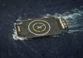 A SpaceX drone barge used for sea landing